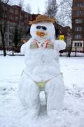Expozice originálních sněhuláků na školním pozemku