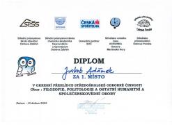 Okresní kolo SOČ, Diplom